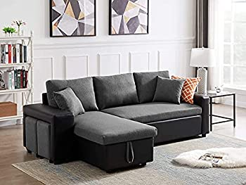 GAOPAN Bed Home Sectional Storage Chaise Lounge & 2 Stools PU Leather & Linen Cover Sofabed Reversible Corner-Sofa with Pull Out Sleeper Couches for Living Room & Office Gray 1