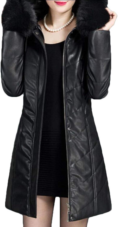 Maweisong Women's Coat Winter Puffer Zip Faux Fur Trim Hood Down Jackets