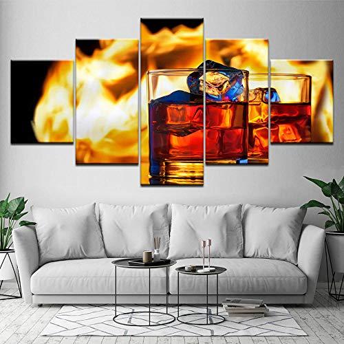 NoBrand Wall Art wijnglas 5 Panel HD bedrukt canvasfoto restaurant bar woonkamer decoratie thuis afbeelding 40 x 60 x 80 x 100 cm zonder lijst