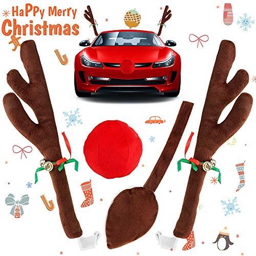 VZATT Corna di Renna per Auto Decorazione Macchina di Natale, Renne di Natale Auto di Corna E Naso Rosso Set con Jingle Bells per Auto Set di Accessori Natalizi del Partito dell'automobile, 45Cm Alto