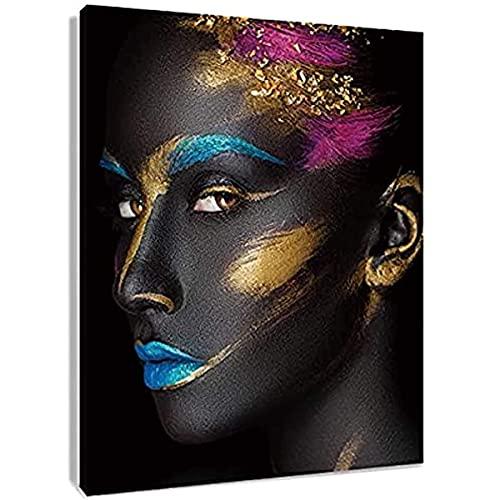 Ncuma Afroamerikaner-leinwand-wandkunst Schwarze Frau Malerei Mode-modell Mit Make-up Auf Gesicht Artwork Für Wohnzimmer Schlafzimmer Badezimmer Dekor , Gestreckt A2 50x75cm...