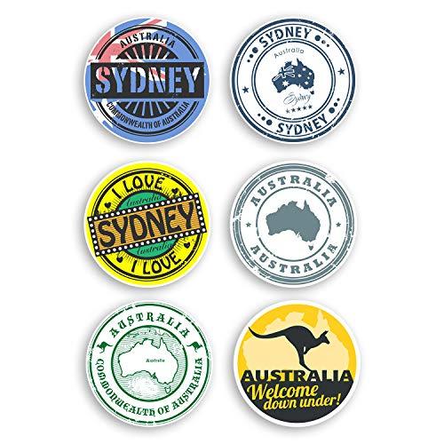 Vinyl-Aufkleber, Motiv Sydney Australien, 8 cm, 6 Stück, multi, 8cm (6 Stickers)