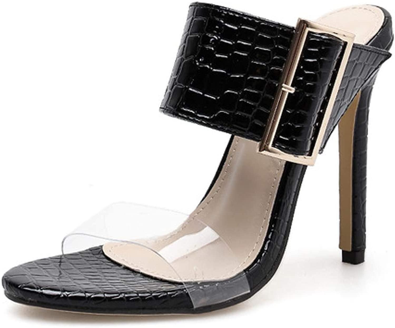 DANNV Seali Open Toe Seali con Fibbia Seali con Tacco Alto Seali Grei con Cinturino tuttia Caviglia nero-36(230mm)