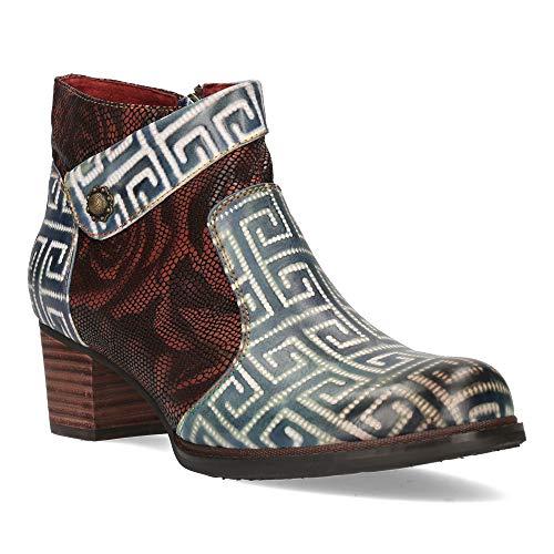 Laura Vita, Alexia 13, Lederstiefel, Damen, Winterstiefel, bequeme Schuhe – Origineller Stil, Spiralen weiß und rosa T.40