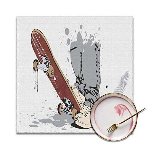 Strawberryran Teen Skateboard mit Jungenfüßen in Turnschuhen und J.eans Illustration Grau Creme Kastanienbraun 12 X 18 im 4er-Set