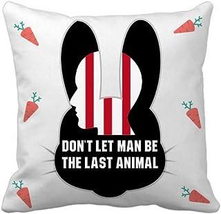 OFFbb-USA Dont Let Man Be The Last Animal Rabbit - Funda cuadrada para almohada