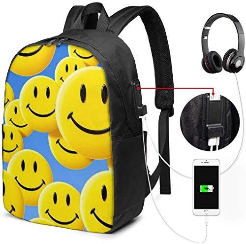RROOT Zaino Unisex con Porta di Ricarica USB Emoji Smiley Faces (1) Classic Fashion General Business Bookbag