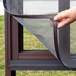 Goodjobb Magnetic Invisible Fly Mosquito Screen Net Mesh Custom Made DIY Magnetic Window Screen fit window (Color : Black,...