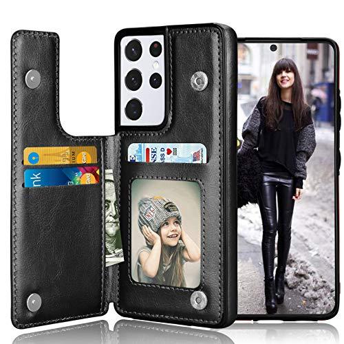 Tekcoo Schutzhülle für Samsung S21 5G, minimalistisch, luxuriös, PU-Leder, mit Kartenfächern, Magnetverschluss, Standfunktion, dünn, Schutzhülle für Samsung S21 [schwarz]