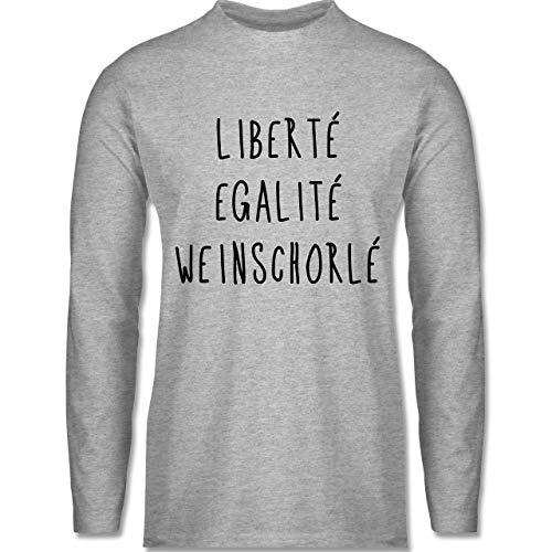 Shirtracer Sprüche - Liberte Egalite Weinschorle schwarz - 3XL - Grau meliert - Wein - BCTU005 - Herren Langarmshirt