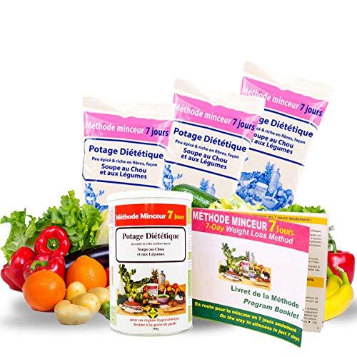 Annedelona CURE METHODE MINCEUR 21 JOURS NATURELLE ET EFFICACE. Potage Diététique Soupe au Chou et Légumes Riche en Fibre et Vitamines (84 Portions). Fabriqué en France.