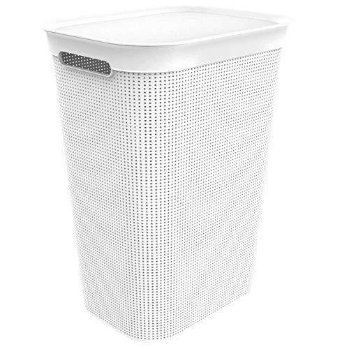 Rotho Brisen Waschesammler 50l mit Deckel und 2 Griffen, Kunststoff (PP) BPA-frei, mistletoe weiss, 50l (43,1 x 34,0 x 52,9 cm)