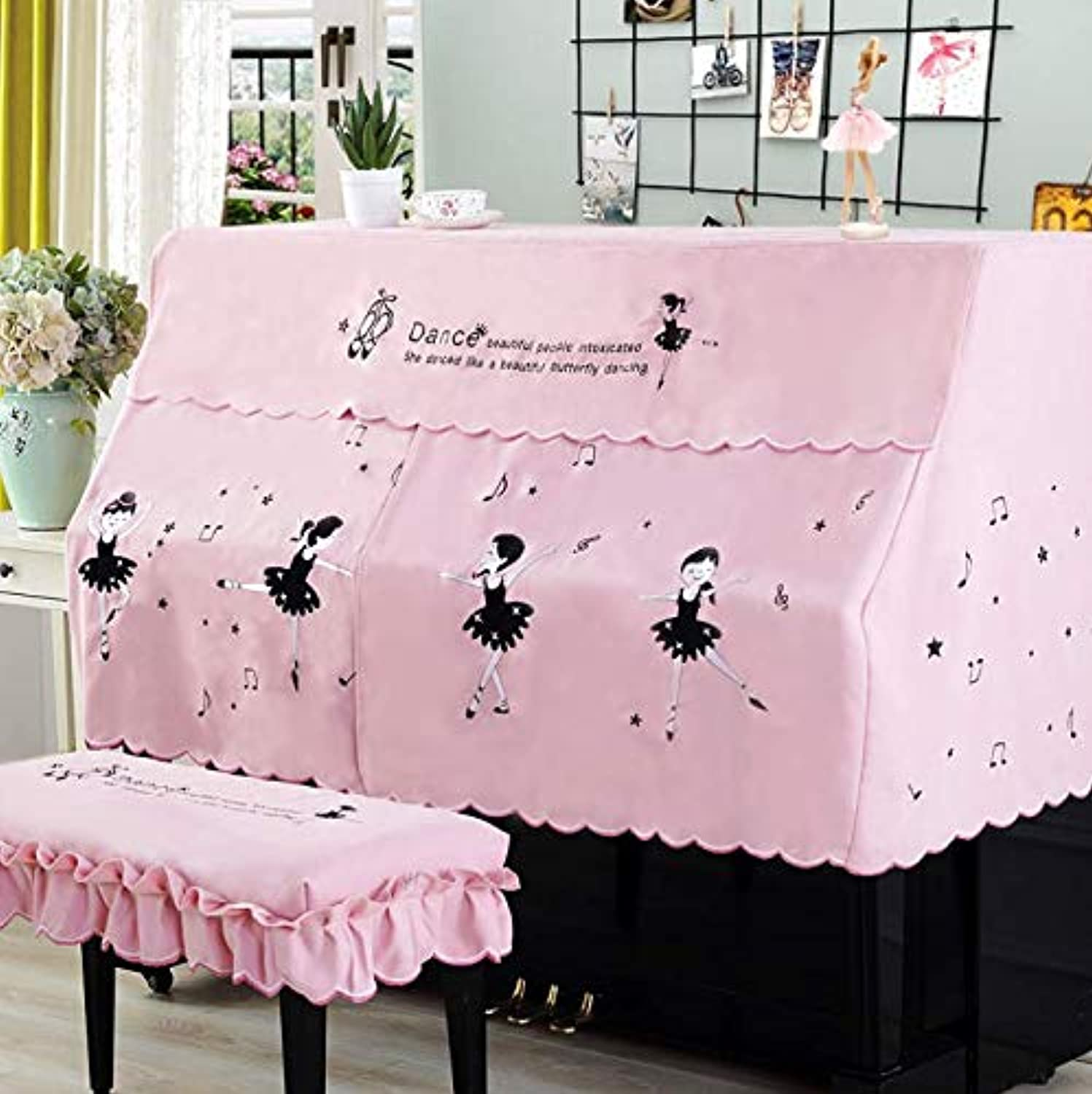 Half and Full Piano Cover with Stool Cover Style Contains Cartoon Ballet Pink DustProof Piano Covers