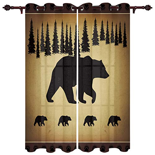 """wanxinfu Black Bear Forest Silhouettes 2 Piece Window Curtain for Bedroom Living Room 39 Inch Long, Vintage Farm Backdrop Privacy Protection Drapes with Grommet Top (55"""" W x 39"""" L)"""