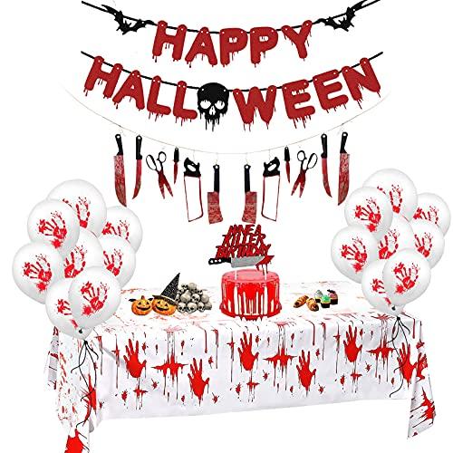 2021 Halloween-Party-Dekorationsset einschließlich blutiger Tischdecke, Waffengirlande, Happy Halloween-Banner, haben einen Killer-Kuchen-Deckel, 20 Ballons Geburtstags-Outdoor-Innendekorationsartikel