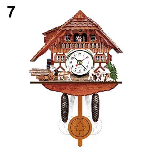 aifengxiandonglingbaihuo 'The Best' antieke houten Kuckuck Wandklok Vogel Tijd Bell Swing Alarm Klok Home Art Decor 889 geel