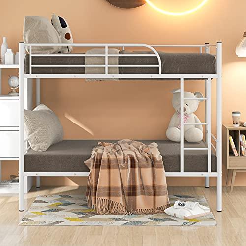 Blanketswarm Literas de metal individuales, marco de cama de alta calidad con escaleras y barandilla de longitud completa, dividida a 2 camas, dormitorio para niños/adolescentes/adultos, 90 x 190 cm