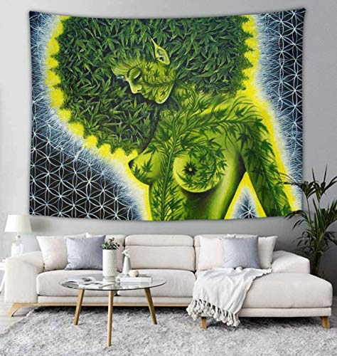 African Woman Weed Leaves Tapestry Psychedelic Art Wall Hanging Home Decor Extra Large Tapestries Tablecloths Blanket Curtain Decoration Black Light Poster 60 X 70 inches for Bedroom Living Room Dorm