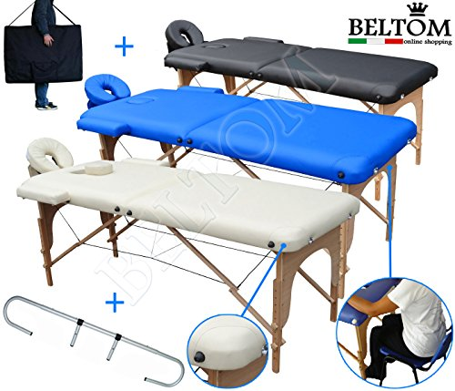 Beltom Camilla de Masaje 2 Zonas portatil Mesa Cama Banco Plegable Reiki Fsioterapeuta - Negro
