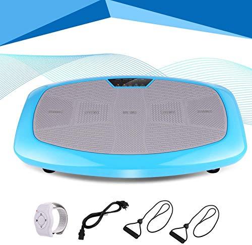 Profun Plataforma Vibratoria Fitness, Dispositivo de vibración 3D con Gran área de Entrenamiento Antideslizante y Pantalla LCD y Control Remoto y Bandas de Entrenamiento, máx.120 kg (Azul)