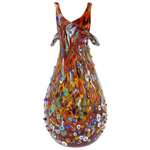 GlassOfVenice Murano Glass Millefiori Mosaic Blooming Flower Vase - Red