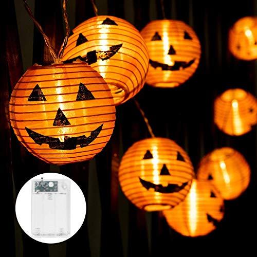 Halloween pumpkin lantern String Lights, Halloween Pumpkin Paper 20 LED Battery Powered Holiday String Lights, 3D Jack-O-Lantern Orange Pumpkin Lights for Halloween Indoor Outdoor Decorations