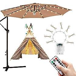 commercial iYeHo Patio Umbrella Light String Light 8 Brightness Mode 104 LEDs and 3AA Battery Powered… outdoor umbrella lights