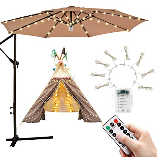 iYeHo Patio Umbrella Light String Lights 8 Brightness Modes 104 LEDs at 3AA Battery Operated Waterproof Outdoor Umbrella Pole Light for Patio Umbrellas Camping Tents (Warm White)