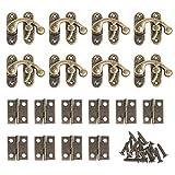 BELIOF 30 Stücke Eisen Antike Vorhängeschloss Hasp und 60 Pcs Mini Scharniere mit Schrauben Vintage Rechts Latch Haken Hasp und Kleine Schrankscharniere für Holzkiste Schmuckkästchen