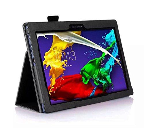 Lobwerk Hülle für Lenovo Tab 2 A10-30 A10-70F / Tab 10 TB-X103F 10.1 Zoll Schutzhülle Etui Tablet Tasche Smart Cover A10-70L (Schwarz)