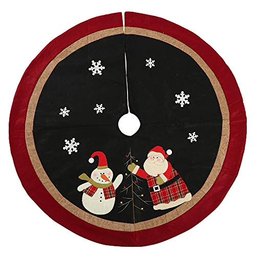 SUGOO 47-inch hristmas Tree Skirts Santa & Snowman Design Large Tree Skirt with Burlap and Red Border for Xmas Holiday Decoration, New Year Party Christmas Tree Decoration