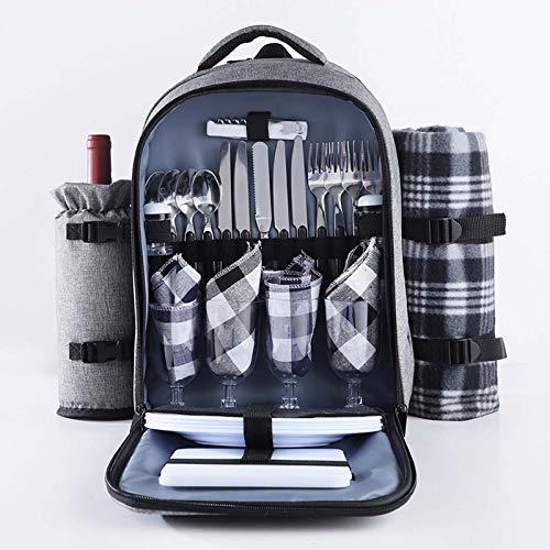 RAPLANC Picknick-Rucksack, 4 Personen, Picknicktasche mit isolierter wasserdichter Tasche und hochwertigem Edelstahl, tragbare Lunchtasche mit Decke für Camping im Freien