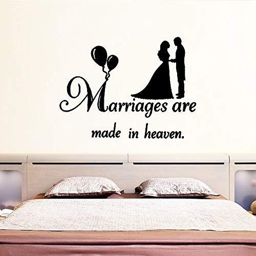 BailongXiao Amor Matrimonio Pegatinas de Pared Decoración para el hogar Accesorios Decoración Sala de Estar Dormitorio Extraíble Impermeable Tatuajes de Pared 104x138cm