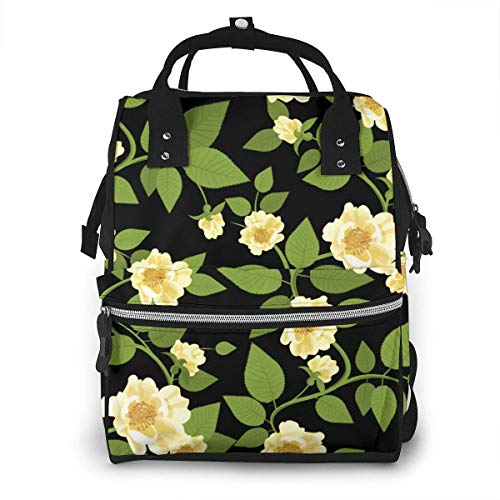 JUKIL Sac à dos à couches Wild Roses Retro Decorative Textile Nature Diaper Backpack Large Capacity Baby Bags Multi-Function Zipper Casual Travel Backpacks for Mom Dad Unisex
