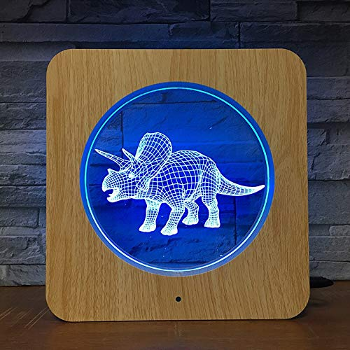 Herbivorous 3D LED Lampada da tavolo a LED in legno con luce notturna a grana Lampada da tavolo per bambini Colori per compleanno Regalo per bambini Decorazione per la casa