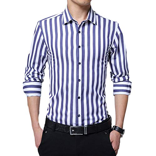 Camisa de Manga Larga para Hombre Moda Negocio Clásico Cuello Alto a Rayas Camisa Pura de Talla Grande Camisa Casual de un Solo Pecho 3XL