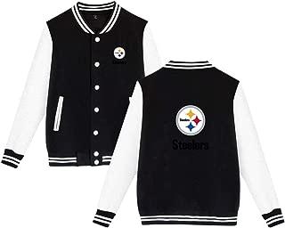 Pittsburgh Steelers Jacket Men Women Slim Fit Varsity Baseball Jacket Bomber Coat,Black,