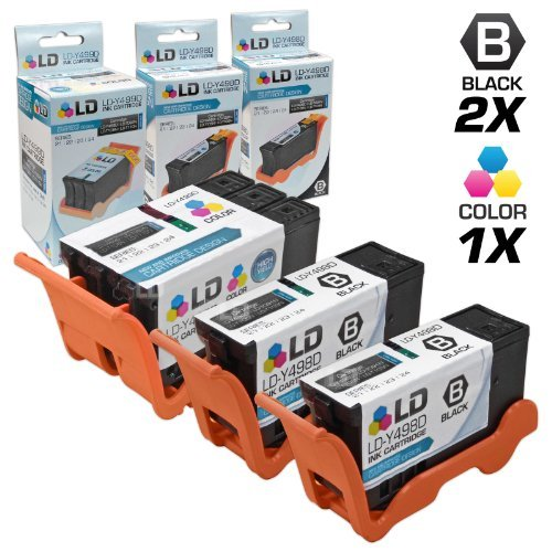 LD Compatible Ink Cartridge Replacement for Dell V313 Series 21 (2 Black, 1 Color, 3-Pack)
