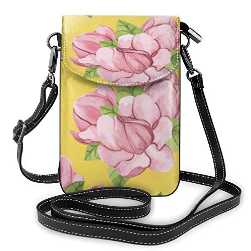 XCNGG Pink Flowers Cell Phone Purse Crossbody Bag Pouch Shoulder Bags Wallet For Women Girls Travel Wedding