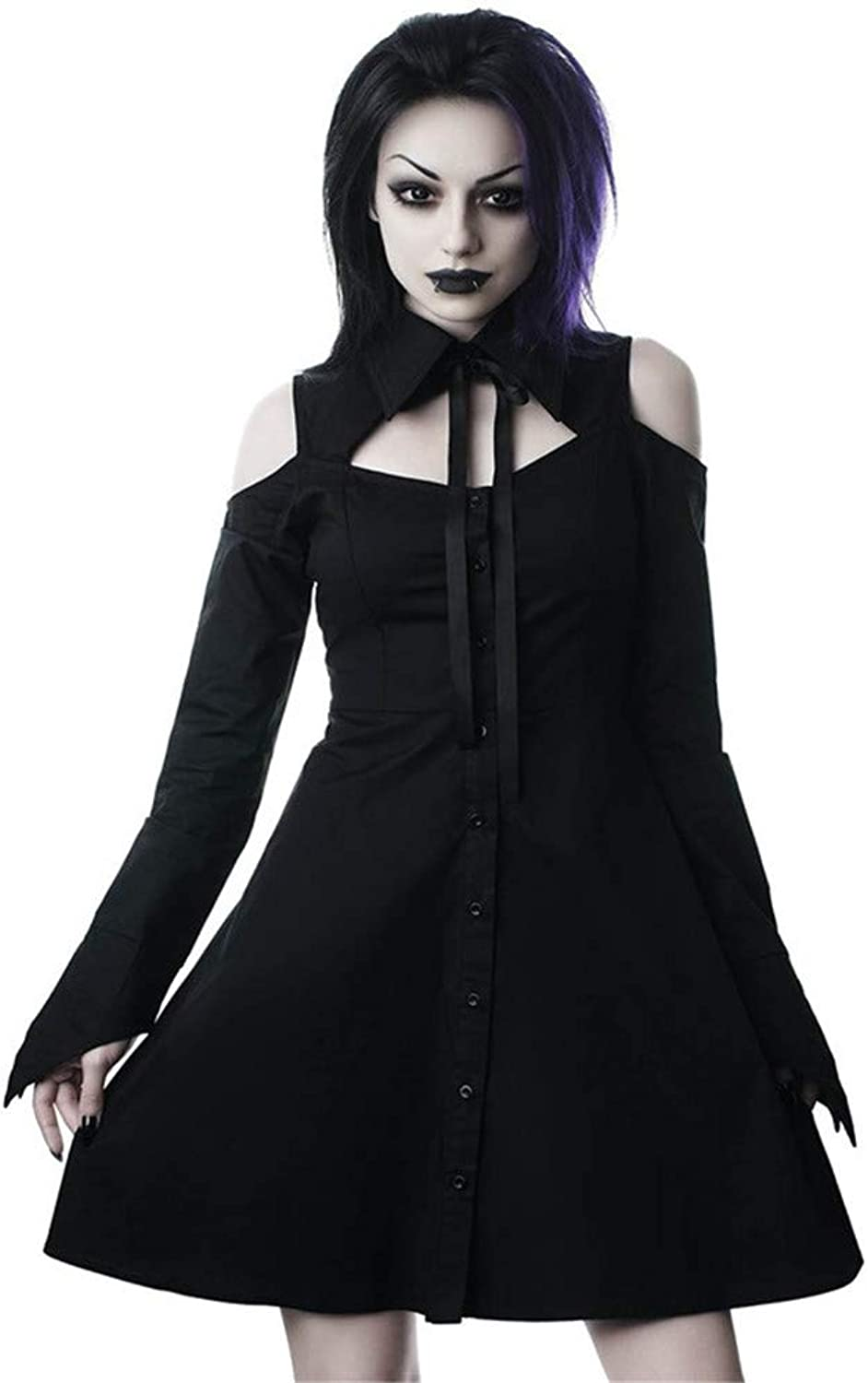 Women's Gothic Polo Collar Dress Long Sleeve Lacing Buckle Party Flare Dress