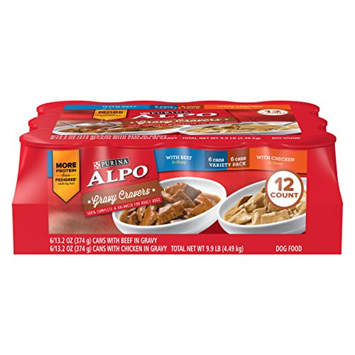 Purina ALPO Gravy Wet Dog Food Variety Pack, Gravy Cravers With Beef & With Chicken - (12) 13.2 oz. Cans