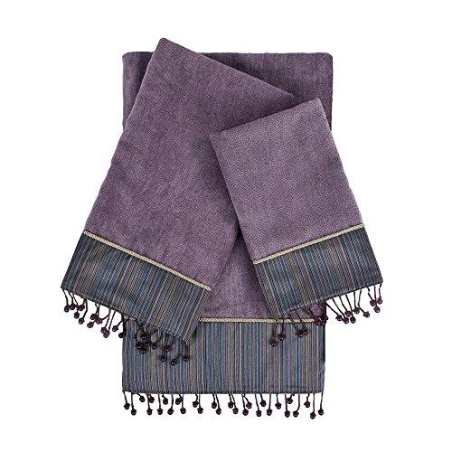 Sherry Kline Silk Strie Lavender 3Piece Embellished Towel Set Silk Strie 3Piece Embellished Towel Set,Lavender