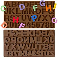 文字シリコン型 2個 大きな数字 アルファベット26個 チョコレート型 キャンディ型 シリコン文字 チョコレートDIYクッキーキャンドル カップケーキトッパー