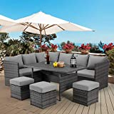 AECOJOY Pieces Outdoor Furniture Set, Wicker Rattan Outdoor Patio Furniture Set Clearance Sets, Patio Dining Furniture Set with Table&Chair, Grey Rattan & Grey Cushion