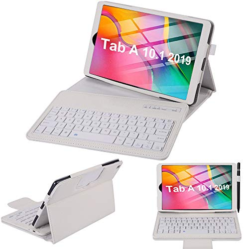 SsHhUu Galaxy Tab A 10.1 2019 Keyboard Case SM-T510 /T515, Lightweight Slim PU Leather Protective Case with Magnetically Detachable Bluetooth Keyboard for Samsung Galaxy Tab A 10.1' 2019, White