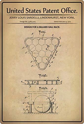 Blechschild 20x30cm gewölbt Patent Entwurf für EIN Billard Dreieck 1975 Deko Geschenk Schild