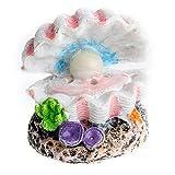 JONJUMP Cáscara perla de aire piedra acuario pecera concha burbujeante adorno decoración