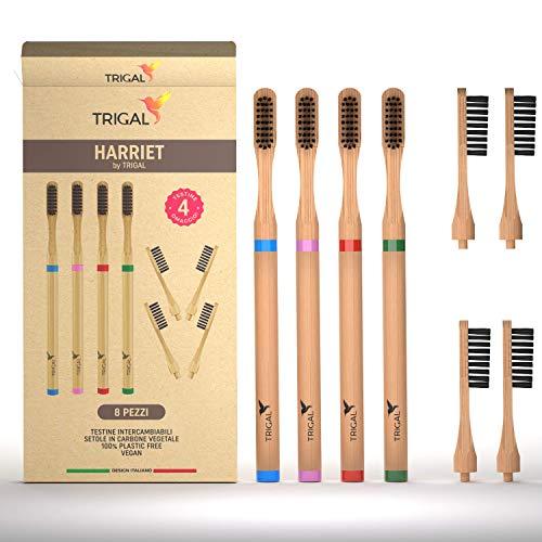 Spazzolini Bamboo,setole Carbone Attivo 100% Biodegradabile,denti tartaro,testina Intercambiabile,gengive Sensibili,spazzolino Bambù Legno Riciclabile Naturale,anti Muffa, Vegan,biodegradabili
