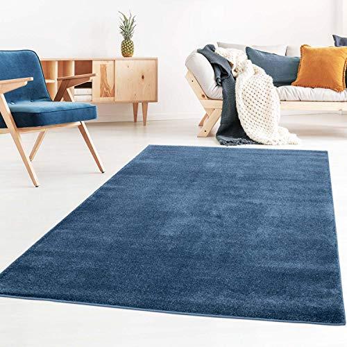 Taracarpet Kurzflor-Designer Uni Teppich extra weich fürs Wohnzimmer, Schlafzimmer, Esszimmer oder Kinderzimmer Gala dunkel-blau 080x150 cm