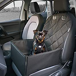 AHUKU Dog Car Seat with Seat Belt and Strong Padded Sides – Waterproof Pet Booster Seat Cover – For Small to Medium Dogs and Puppies